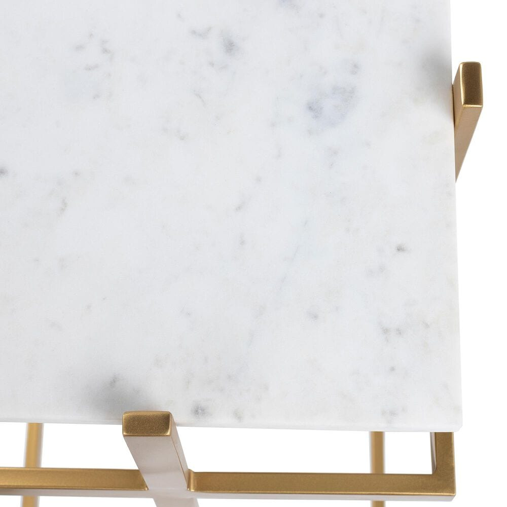Surya Inc Lindsey End Table in White Marble and Gold, , large