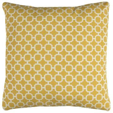 """Rizzy Home 22"""" x 22"""" Poly-Fill Pillow in Yellow and White, , large"""