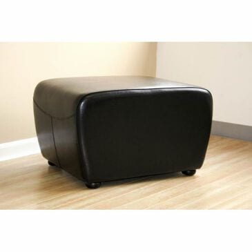 Baxton Studio Full Leather Ottoman with Rounded Sides in Black, , large