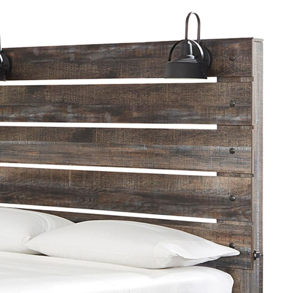 Signature Design by Ashley Drystan Queen Panel Bed in Burnt Orange and Teal, , large
