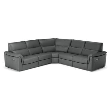 Natuzzi Editions Amorevole Triple Motion Leather Sectional in Steel Gray, , large