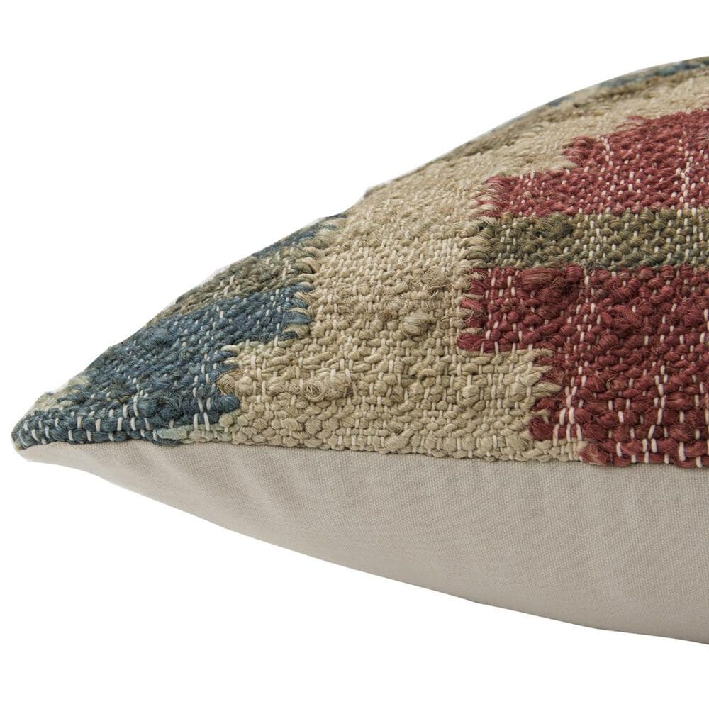"""Rizzy Home 20"""" x 20"""" Pillow Cover in Beige with Teal, Red and Green, , large"""