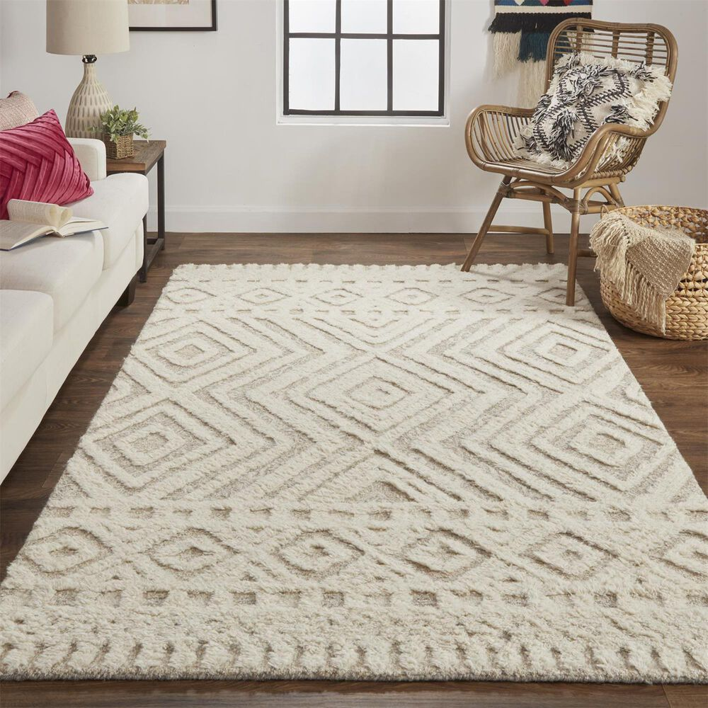 Feizy Rugs Anica 5' x 8' Beige Area Rug, , large