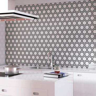"Dal-Tile Black and White Honed 6"" x 6"" Hexagon Marble Mosaic Sheet, , large"