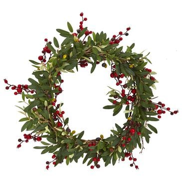 """Nearly Natural Inc 20"""" Olive with Berries Artificial Wreath, , large"""