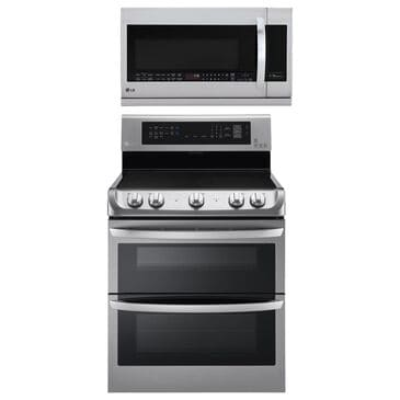 LG 2-Piece Kitchen Package with 7.3 Cu. Ft. Electric Double Oven Range and 2.2 Cu. Ft. Microwave Oven EasyClean in Stainless Steel, , large