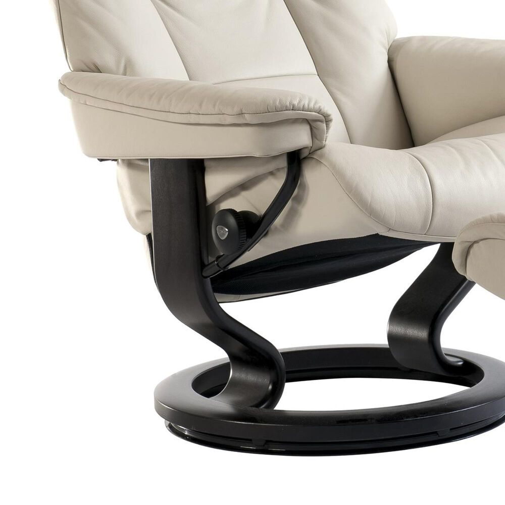 Ekornes Mayfair Large Chair and Ottoman with Black Base in Paloma Vanilla, , large
