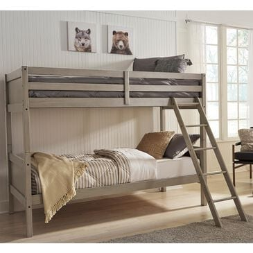 Signature Design by Ashley Lettner Twin over Twin Bunk Bed with Ladder in Light Gray, , large