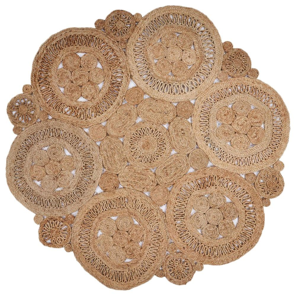 L&R Resources Natural Jute  8' Scalloped Natural Area Rug, , large