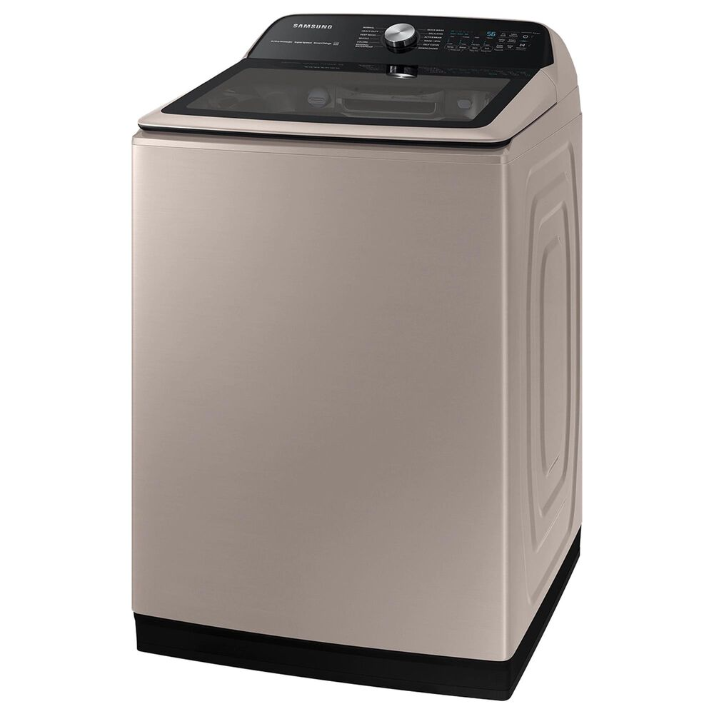 Samsung 5.1 Cu. Ft. Smart Top Load Agitator Washer and 7.4 Cu. Ft. Electric Dryer in Champagne, , large