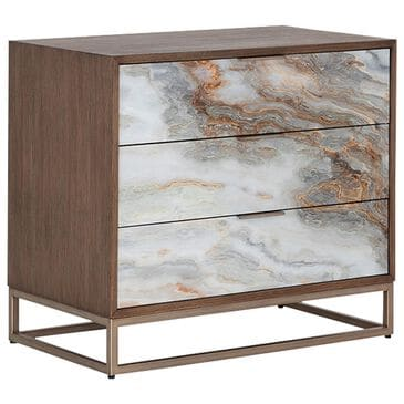 Sunpan Trading & Importing Fuentes 3 Drawer Nightstand in Brown and Brass, , large