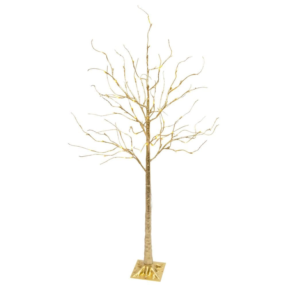 """The Gerson Company 70.8"""" Tree with 88 LED White Lights in Gold, , large"""
