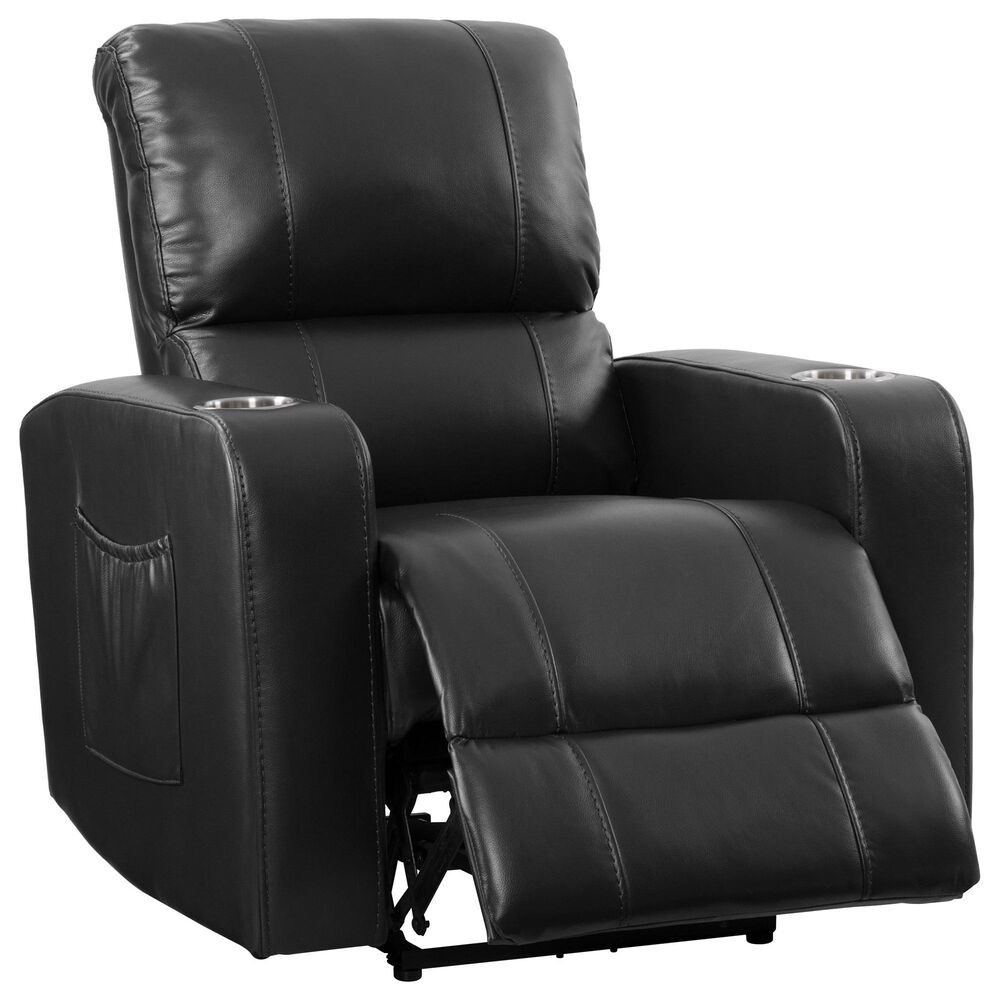 CorLiving Tucson Home Theater Power Recliner with Cup Holders in Black, , large