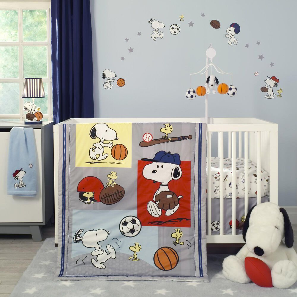 Lambs and Ivy Snoopy Sports Wall Decal in Red, Blue and Yellow, , large