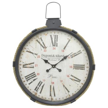 Three Hands Metal Frame Wall Clock in Black, , large