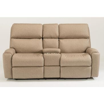 Flexsteel Rio Manual Reclining Loveseat with Console in Flint, , large