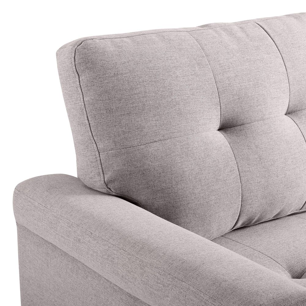 Lilola Home Lucca Reversible Sleeper Sectional Sofa Chaise in Light Gray, , large