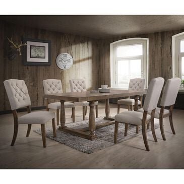 Gunnison Co. Duke 7- Piece Dining Set in White Oak and Linen, , large