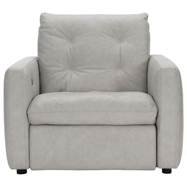 Bernhardt Kaya Power Motion Chair in Gray White Leather, , large