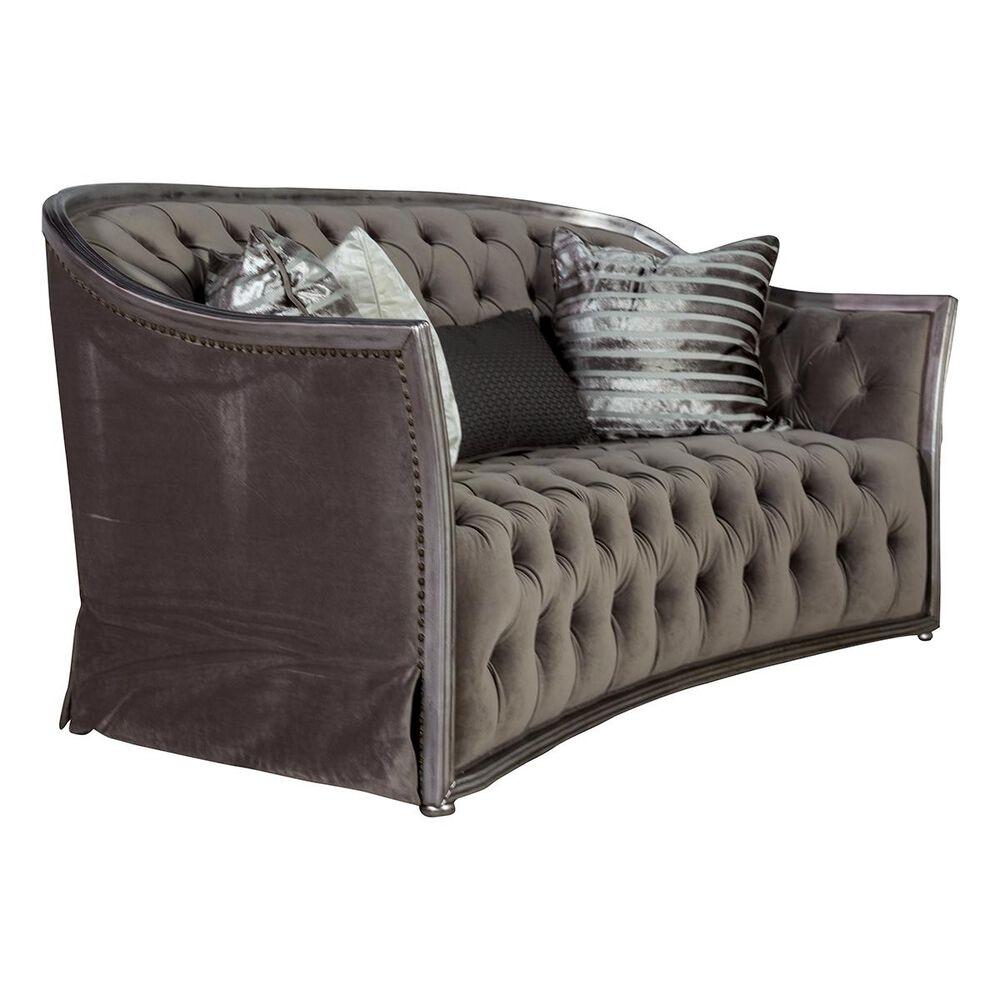 Aria Designs Loveseat in Gray Velvet, , large
