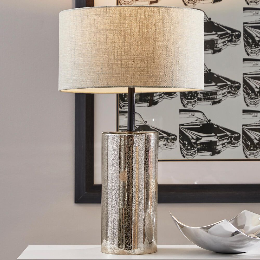 Adesso Cassandra Tall Table Lamp in Cracked Mercury and Black, , large