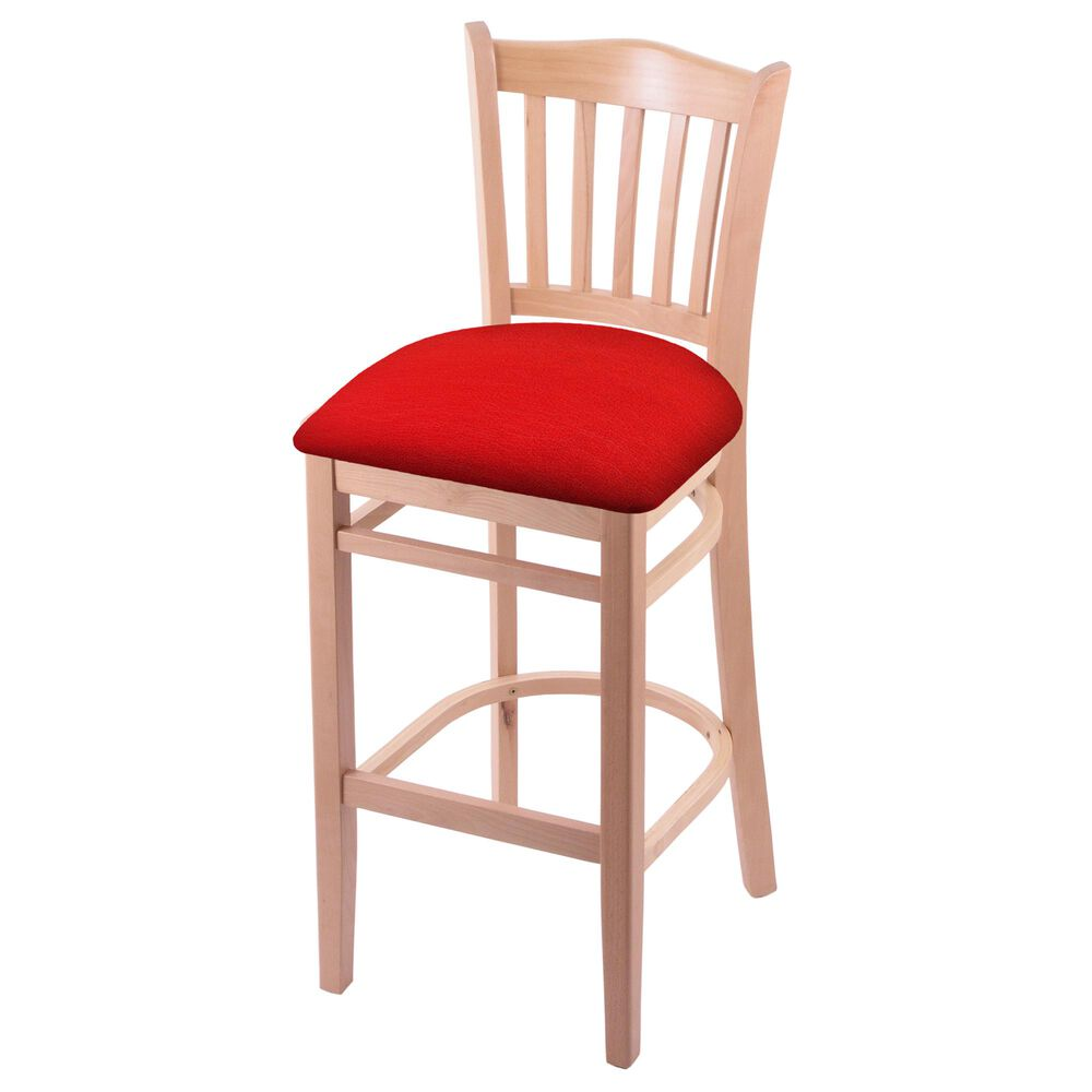 """Holland Bar Stool 3120 30"""" Bar Stool with Natural Finish and Canter Red Seat, , large"""