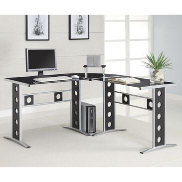 Pacific Landing Modern L Shape Desk with Silver Frame & Black Glass, , large