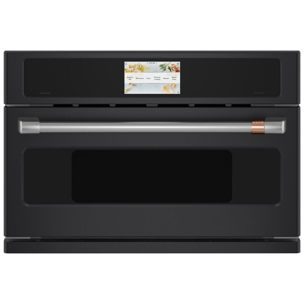 """GE Cafe 30"""" Five in One Oven with 240V Advantium Technology in Matte Black, Black, large"""