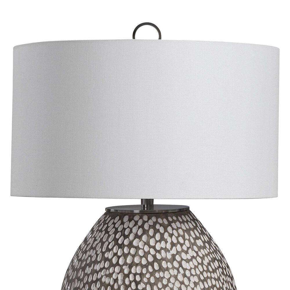 Uttermost Cyprien Table Lamp in Gray, White and Brushed Nickel, , large