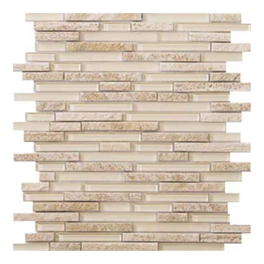 """Emser Lucente Servolo Linear Stone Blends 12"""" x 13"""" Glass and Stone Mosaic Sheet, , large"""