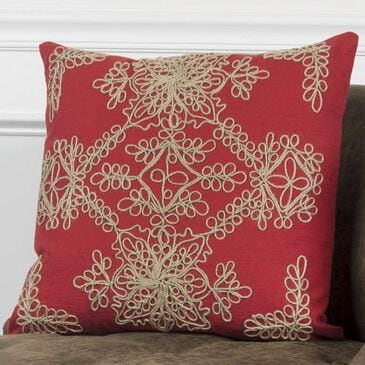 """Rizzy Home 18"""" x 18"""" Pillow Cover in Tan and Red, , large"""