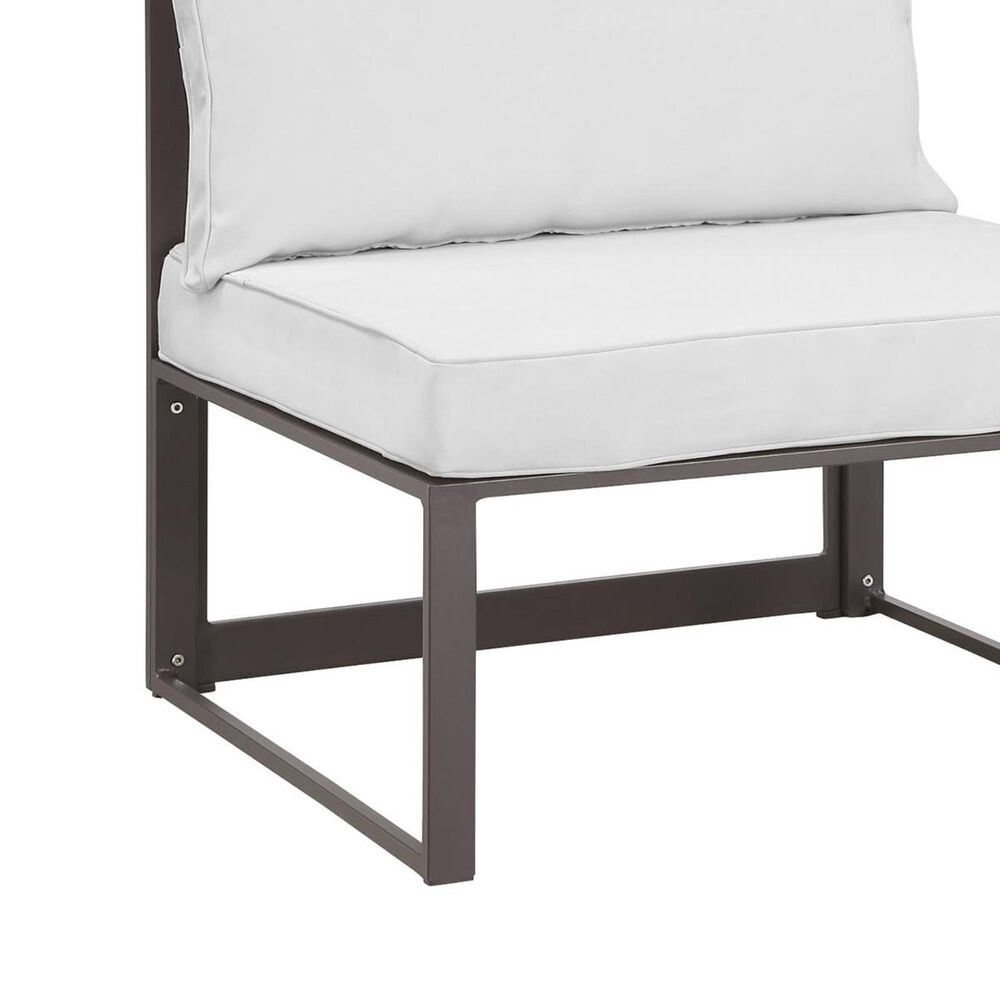 Modway Fortuna 7-Piece Outdoor Patio Modular Sectional Set in Brown and White, , large