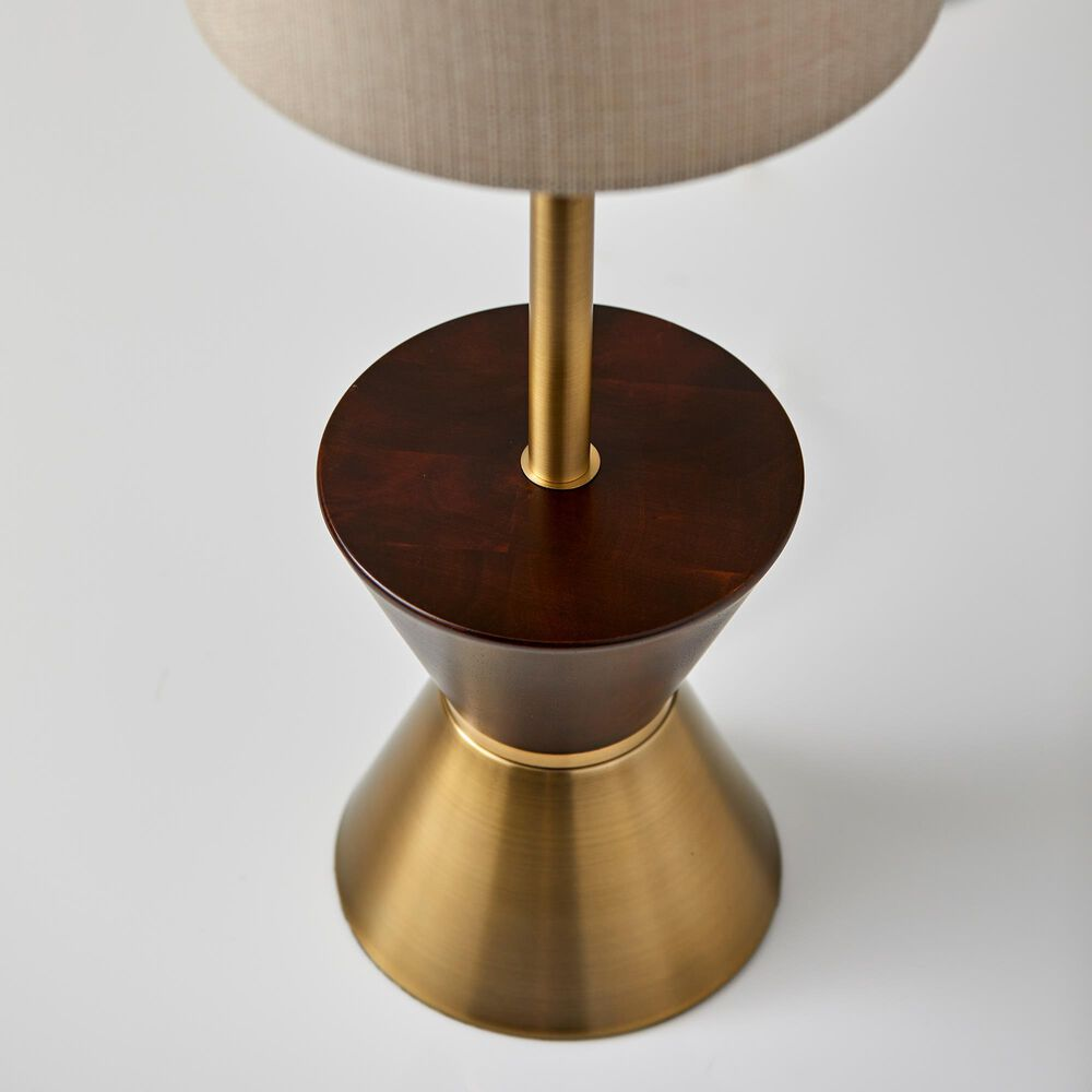 Adesso Carmen Table Lamp in Antique Brass and Walnut, , large
