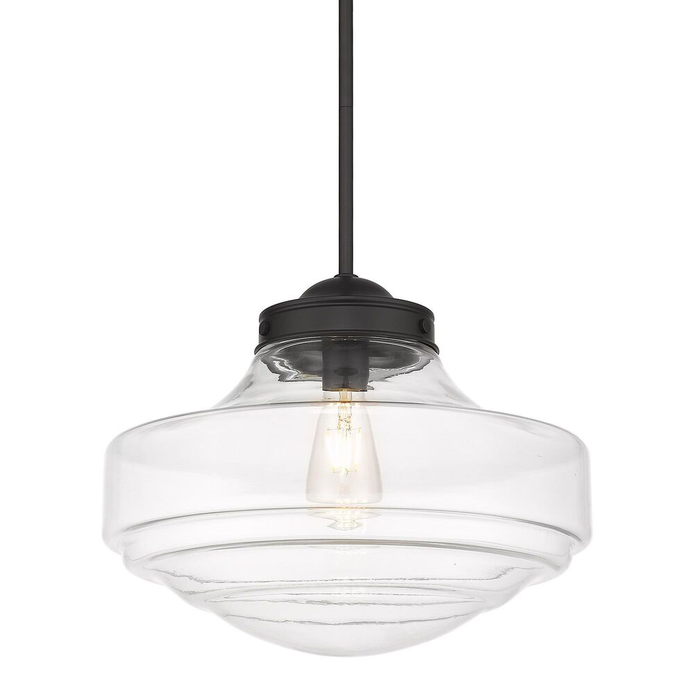 Golden Lighting Ingalls Large Pendant in Matte Black with Clear Glass, , large