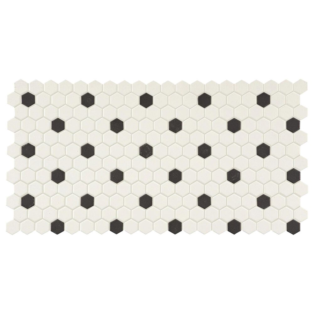 "Dal-Tile Keystones Arctic White and Black 1"" x 1"" on 12"" x 22.625"" Porcelain Mosaic Sheet, , large"