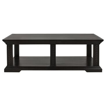 Santa Fe Rustic Pedestal Coffee Table in Antique Black Brown, , large