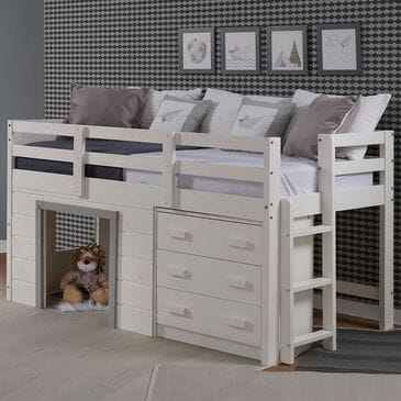 Cambria Designs Sweet Dreams Low Loft Bed in Beautiful White and Grey, , large