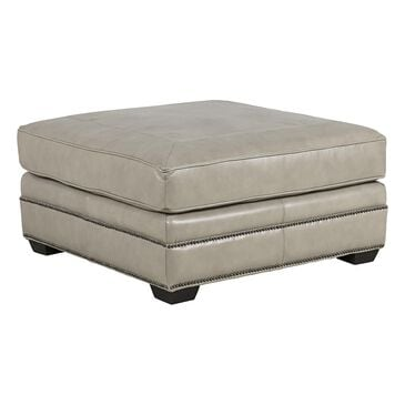 Bernhardt Grandview Leather Cocktail Ottoman in Gray, , large