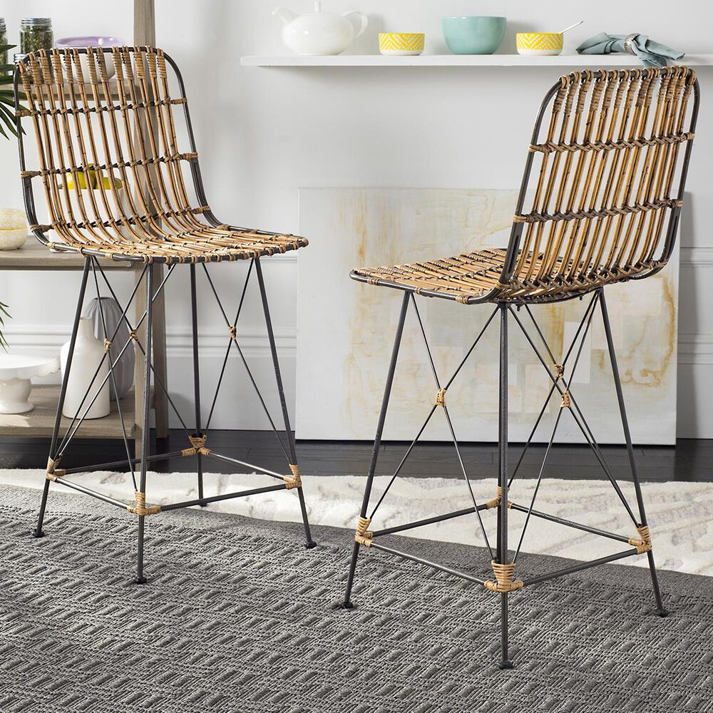 Safavieh Minerva Wicker Counter Stool in Natural Brown Wash (Set of 2), , large