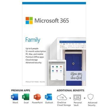 Microsoft 365 Family (12 Month Subscription)(Up to 6 People) Digital Code for Android, Chrome, Mac, Windows and iOS, , large