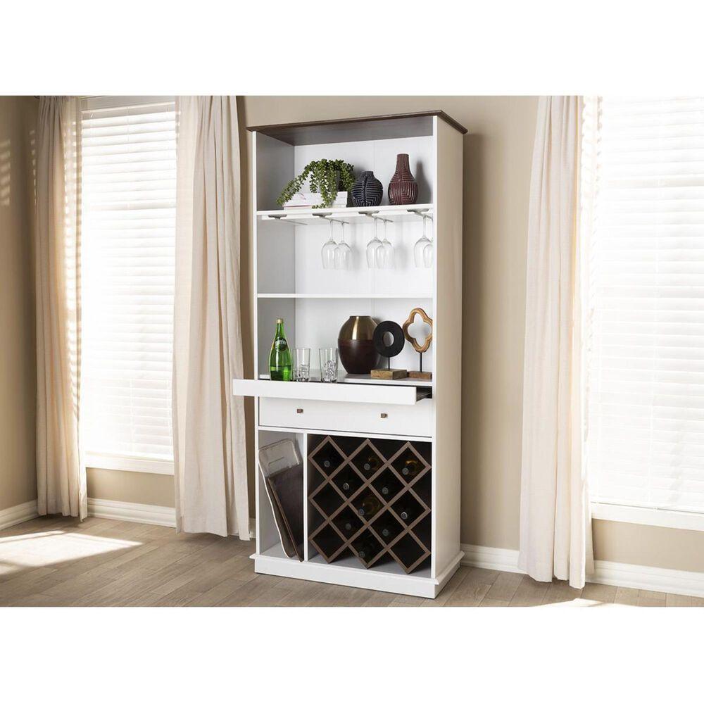 Baxton Studio Serafino Wine Cabinet in White and Walnut Brown, , large