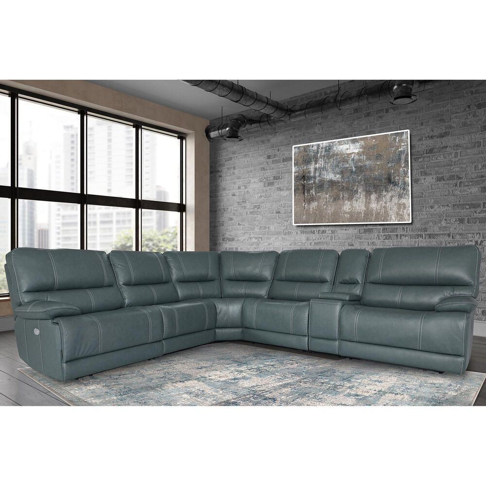 Simeon Collection Shelby 6-Piece Power Recliner with Power Headrest Sectional in Cabrera Azure, , large