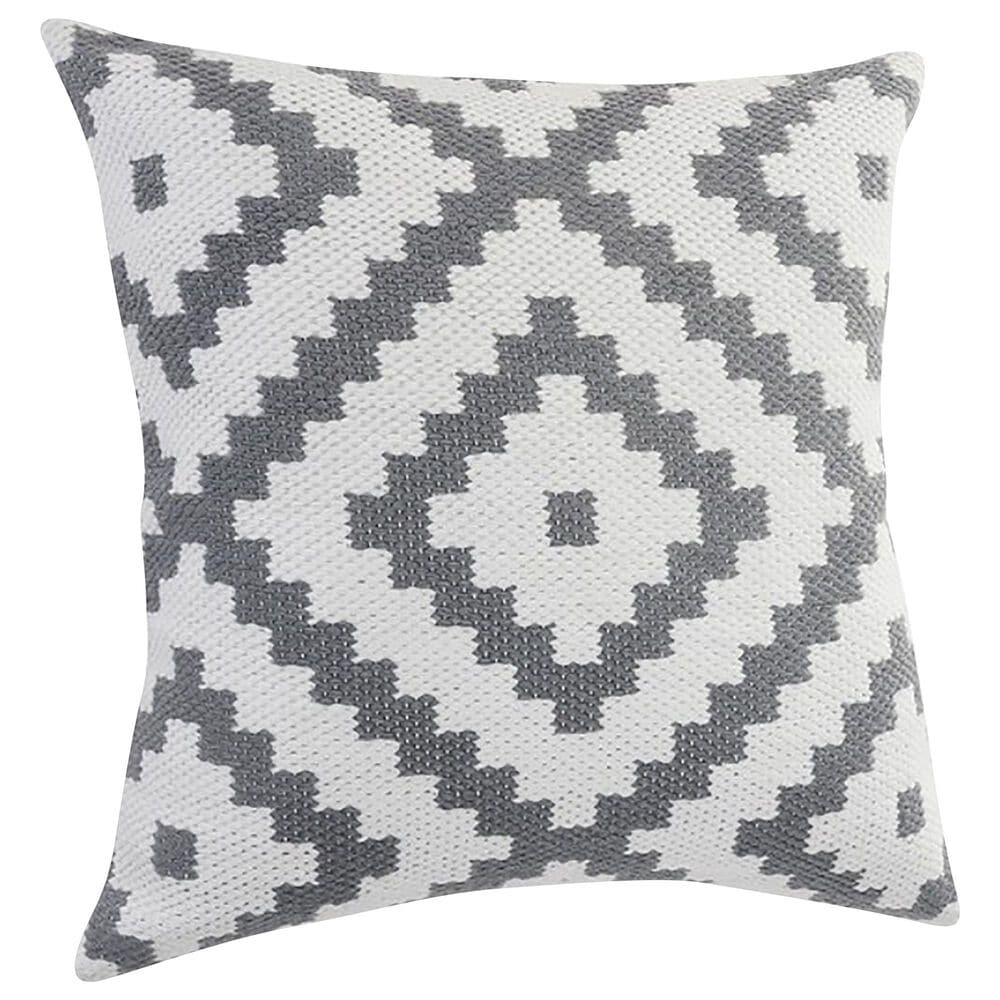 """L.R. RESOURCES Robin 20"""" x 20"""" Geometric Outdoor Throw Pillow in White and Gray, , large"""