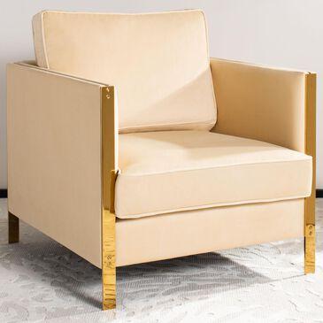Safavieh Reign Club Chair in Cream Velvet, , large