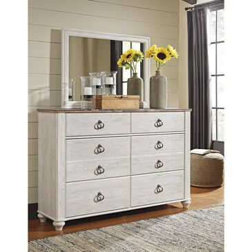 Signature Design by Ashley Willowton 6 Drawer Dresser and Mirror in Whitewash, , large