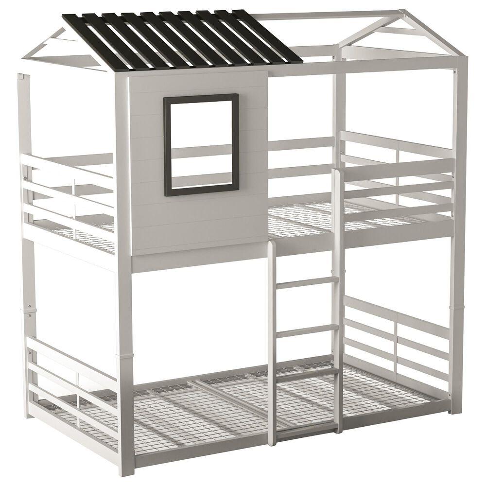 Furniture of America Joseph Twin over Twin Bunk Bed in White/Gun Metal, , large