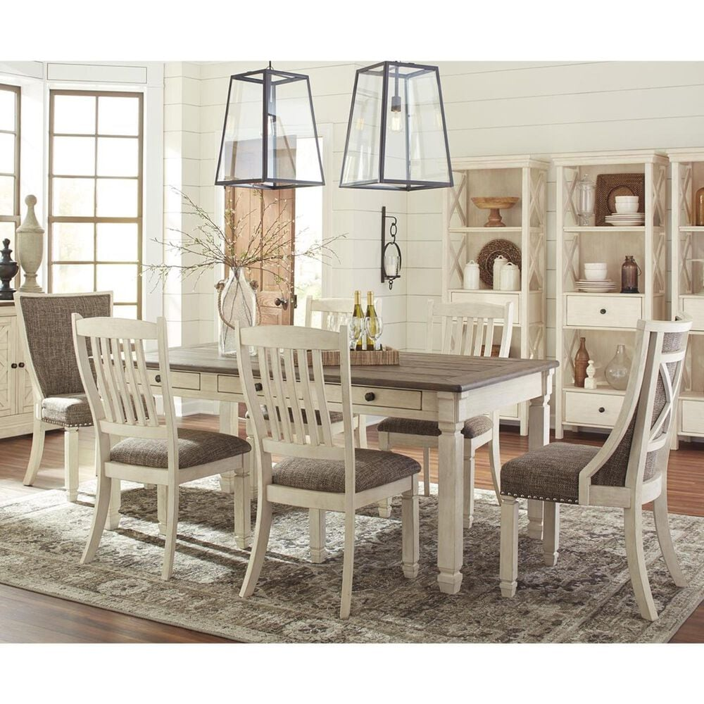 Signature Design by Ashley Bolanburg 7-Piece Dining Set with Host Chairs in Antique White and Weathered Oak, , large