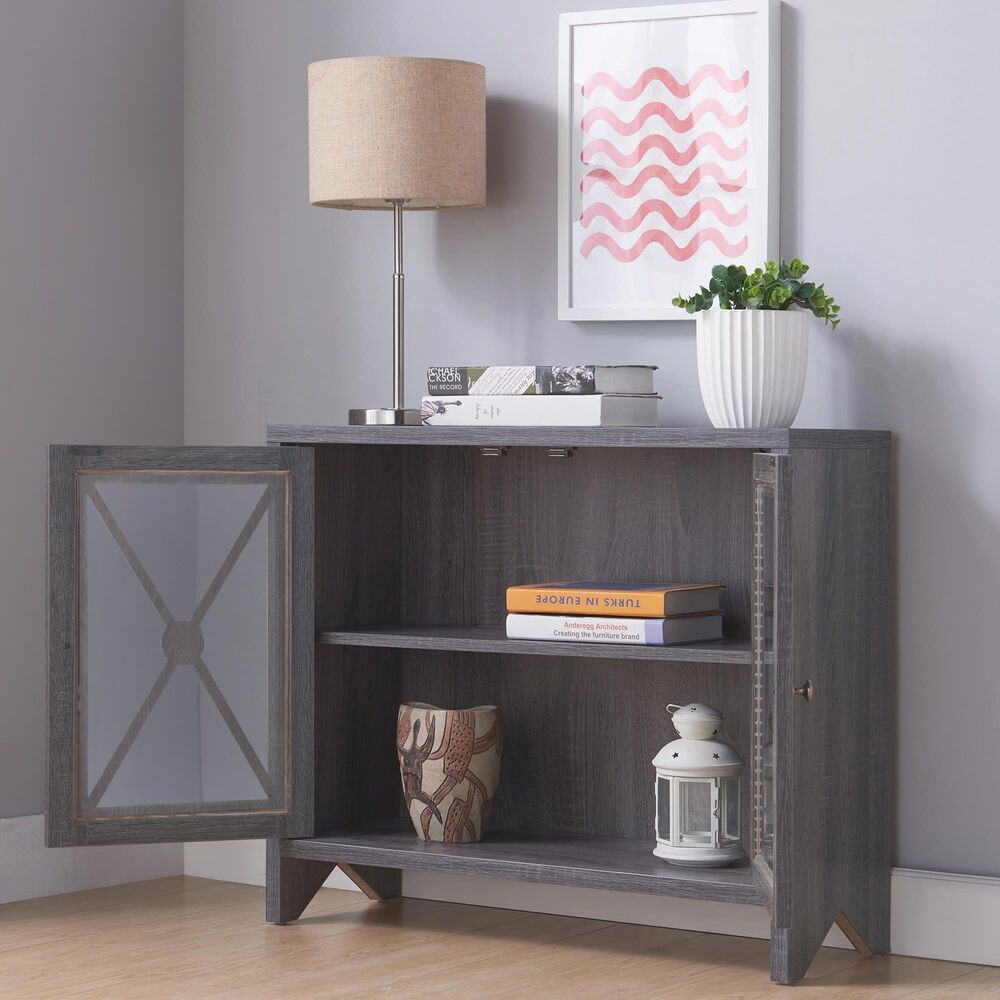 Furniture of America Meadows Accent Cabinet in Distressed Grey, , large