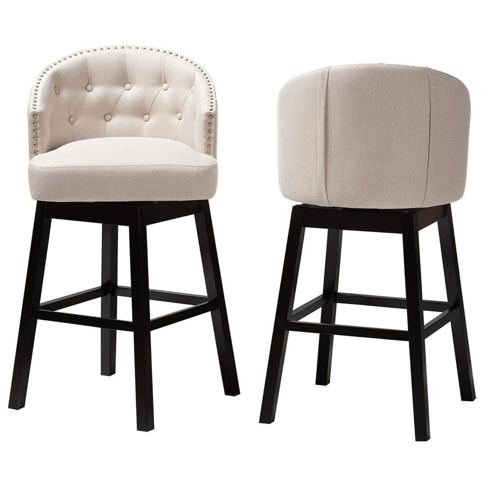 Baxton Studio Theron Swivel Bar Stool in Light Beige and Espresso (Set of 2), , large