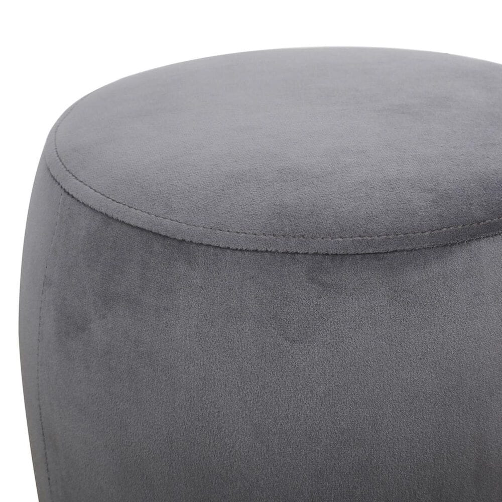Tov Furniture Willow Velvet Ottoman in Grey, , large